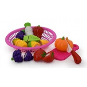 TanMan Realistic Sliceable Fruits and Vegetables Cutting Play Toy Set Including 9 Fruits & Vegetable, 1 Knife,1 Chopping Board & a Cute Basket, Multi Color