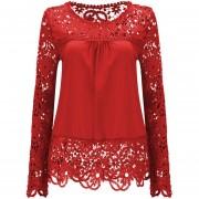 Camisa De Gasa De Encaje Manga Larga Flores Caladas -Rojo