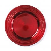 Merkloos Ronde rode onderzet bord/kaarsonderzetter 33 cm