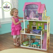Features 4 rooms and 2 outdoor patio areas and KidKraft Florence Wooden Dollhouse With 10 Pieces of Furniture