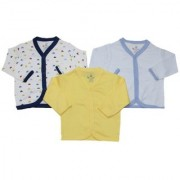 Krivi Kids Multi Color Set of 3 Front Open Full Sleeve Cotton Top For Baby Boys And Baby Girls.