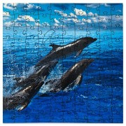 Mosaic Puzzles Wooden Jigsaw Puzzle Dolphins Jumping 104 Unique Pieces Challenge Any Puzzle Lover from Ages 8 to 98 Made in The USA by Zen Art & Design
