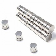Techamazon 20Pieces of 8mm X 3mm Magnets Nickel Coated Round Premium Brushed Refrigerator Magnet for Science Schoo1