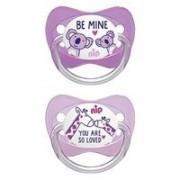 Nip Family latex játszócumi 5-18 hó 2 db (rózsaszín, lila) - zsiráf, koala