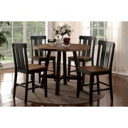 5 pc bridget i collection two tone antiqued oak and black finish wood round counter height dining table set