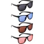 NuVew Wayfarer, Shield Sunglasses(Black, Blue, Brown, Orange)