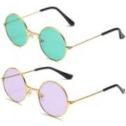 SRPM Round Sunglasses(Green, Violet)