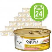 24 x 85 g Gourmet Gold Bocaditos en Salsa - Pack mixto I: salmón y pollo / ternera y verdura
