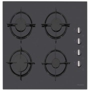 Plita incorporabila Dominox DHG 604 4G BK S C 106.0490.243, 4 arzatoare gaz, 60cm, Aprindere electronica la buton, Valva de siguranta, Arzatoare si gratare fonta, Sticla neagra