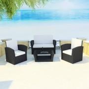 vidaXL Set mobilier de grădină cu canapea 10 piese, poliratan, negru