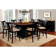 7 pc sabrina collection country style two tone cherry and black finish wood counter height dining table set with pedestal