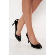 Fekete irodai cipő lakkozott öko bőr enyhén kikerekitett orrú