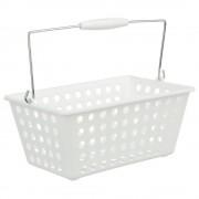 INSTANT D'O Organizér, kosmetický koš, koupelnový kontejner, box pro kosmetiku, box s rukojetí - barva bílá, 30 x 22 x 15 cm