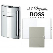 Set Minijet Lighter Silver S.T. Dupont si Note Pad Grey Hugo Boss