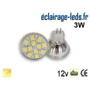 Ampoule led MR11 12 led SMD 5050 blanc chaud 12v ref mr11-04