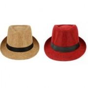 Tahiro Beige And Red Cotton Fedora Hat - Pack Of 2