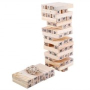 Emob 51 Wooden Building blocks with 3 Wooden dice Jenga Learning Game for Kids (Multicolor)