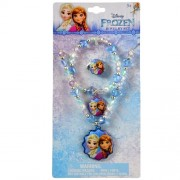 Disney Jewelry Set: Necklace, Bracelet & Ring (Frozen: Elsa and Anna)