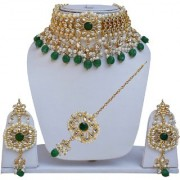 Lucky Jewellery Designer Green Color Gold Plating Pearl And Kundan Choker Necklace Set For Girls & Women