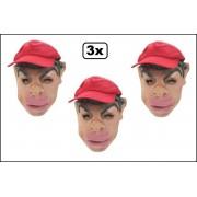 3x Masker man met pet en dikke lippen