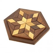 Shalinindia Handmade Hexagonal Wood Tangram Puzzle Game Set with 30 Pieces Great Gift for Kids (6-inch by 6-inch)