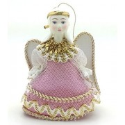 Angel with porcelain hand painted face Russian CHRISTMAS ORNAMENT / gift
