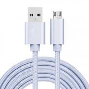 MicroUSB kábel - adatkábel - fonott dizájn - 3m hosszú - EZÜST