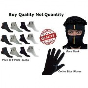 Nandini Sports Ankle Socks 6 Pair + Bike Face / Antipollution Mask + Double cloth Cotton Mens/Women Gloves CODEDH-5687