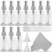 DIY Crafts 20ml Clear Plastic Mist Spray Bottle + 2 Pipette Droppers and 2 Funnels + Cleaning Cloth(Pack of 10)