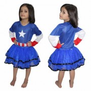 Kaku Fancy Dresses Brave American Littile Soldier Super Hero Costume For Kids Girl CosPlay Costume CaliFor Kidsnia Costume School Annual function/Theme Party/Competition/Stage Shows/Birthday Party Dress