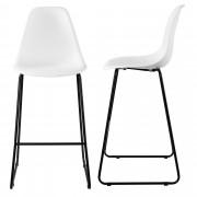 [en.casa]® Bárszék Helsinki 2 darabos design konyhai szék szett fém lábak 110 x 46.5 cm fehér