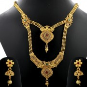 Silver Shine Traditional Gold Plated Ethnic Golden Kundan Stone Studded Peacock Style Two Layer Designer Long Necklace wedding Jewellery Set For Girls and Women