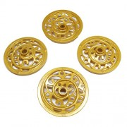 Lego Parts: Cinderella's Carriage - 43mm Ornate Wagon Wheels (Service Pack of 4 - Pearl Gold)