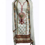 Bhuwal fashion Embroidered Cotton Dress Material-tm6074white