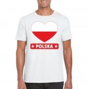 Bellatio Decorations Poolse vlag in hartje shirt wit heren