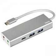 4-портов хъб USB 3.1 Type-C HAMA Aluminium, 2 x USB-A, 1 x USB-C, 1 x 3.5mm audio, Bus Powered, Сребрист, HAMA-135758