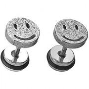 316L Stainless Steel Satin Smiley Screw Back Stud Earrings for Men/Women 2pcs