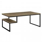 [en.casa]® Mesa de centro moderna lacado brillante [apariencia de madera] con bandeja 110x60cm mesa auxiliar