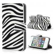 Bolsa em Pele estilo Carteira para iPhone 4, iPhone 4S - Zebra - Preto / Branco