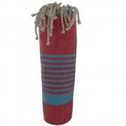 Les Poulettes Bijoux Fouta Drap Plage et Hammam Coton Couleur Rouge Petites Rayures Turquoise