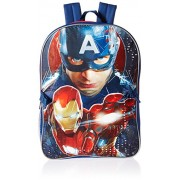 Marvel Boys' Captain America Backpack with Lunch Kit, Red