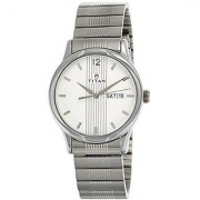 Titan Quartz Silver Rectangle Men Watch-1580SM03