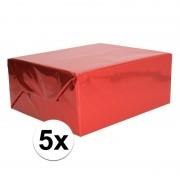 Shoppartners 5x Holografische rood metallic folie / inpakpapier 70 x 150 cm