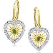 Spargz Gold Plating AD Stone Love Heart Shape Hook Back Earrings For Women AIER 890