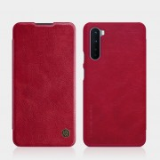 NILLKIN Qin Series Card Holder Leather Mobile Phone Case for OnePlus Nord - Red