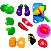 higadget™ Sliceable 10 Pcs Vegetable Cutting Play Toy Set, Can Be Cut in 2 Parts