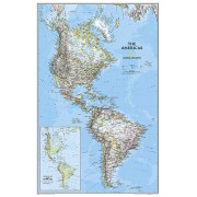 Wandkaart The Americas - Noord & Zuid Amerika, politiek, 60 x 94 cm | National Geographic