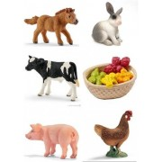 "Schleich Farm Animals ""First Petting Zoo Experience"" Six (6) Cute Small Animal Babies Set with Fruit Feed Set Includes Holstein Calf, Hen, Rabbit, Foal & Piglet Bagged Together Nicely"