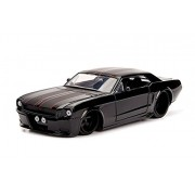 1965 Ford Mustang Black with Matte Stripes 1/24 Diecast Model Car by Jada 99967