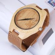 Personalidad De La Moda Gran Esfera Redonda Bambu Reloj Con Correa De Cuero Shell